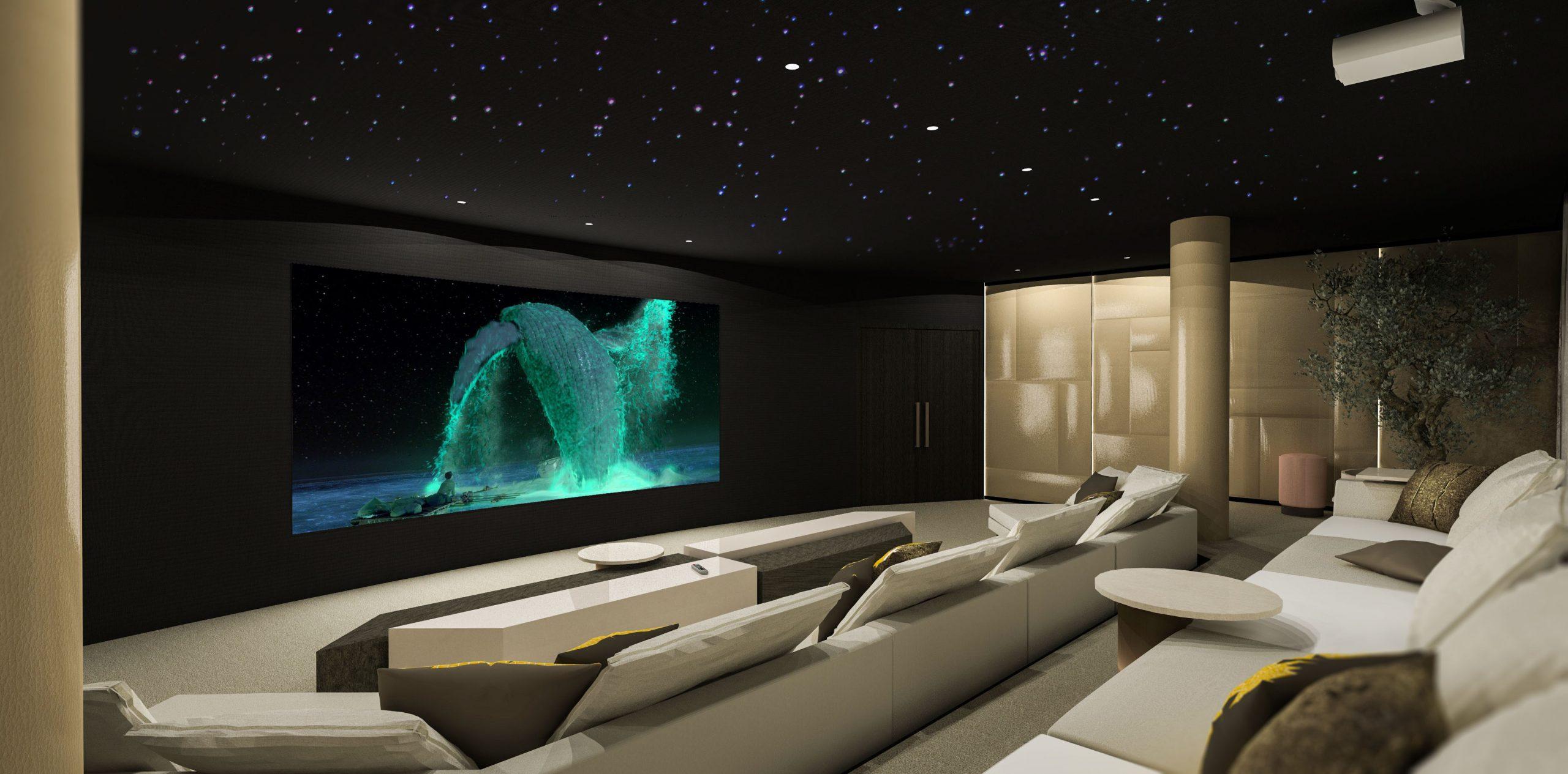 Grote en luxe home cinema